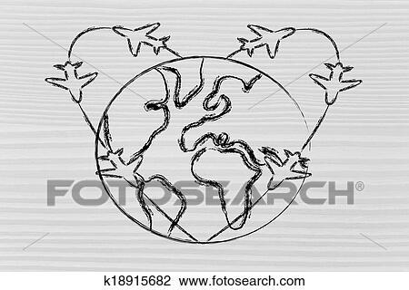 Amour Pour Travel Avion Pistes Coeur Monde Dessin K18915682
