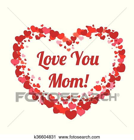 I Love You Mom Text With Hearts, I Love You Mom, Love You Mom, Mom Clipart  PNG and Vector with Transparent Background for Free Download
