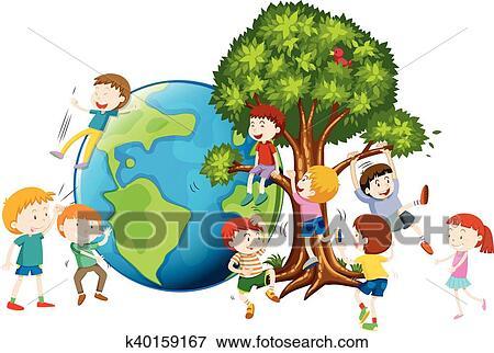 Children Climbing Up Tree Clip Art K40159167 Fotosearch It isn't kids failing the test; fotosearch