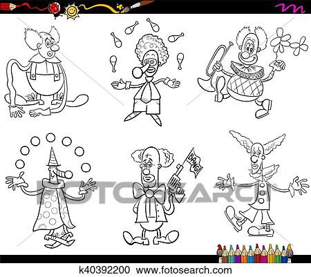 Clipart - circo, payasos, conjunto, libro colorear k40392200 ...