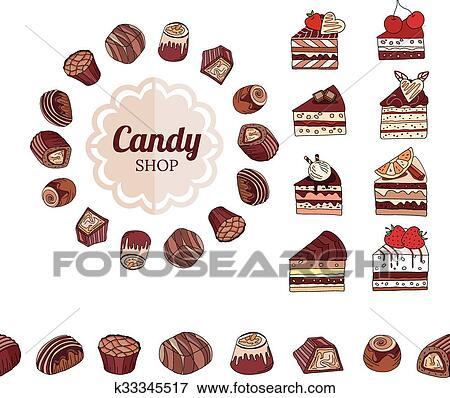 Clip Art Differente Cioccolato Candisce E Fette Di Torta Su