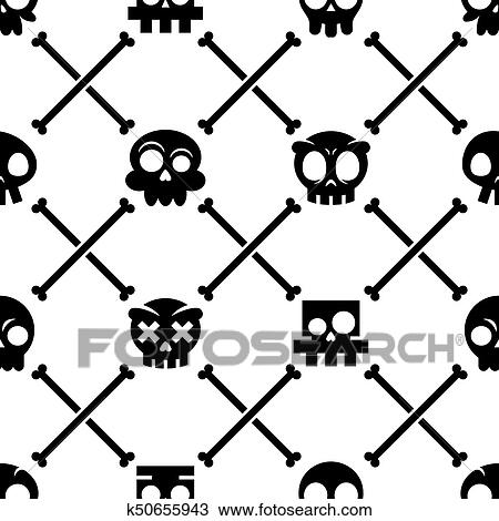 drawing of halloween skull vector seamless pattern mexican cute