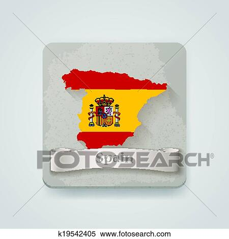 Spain Map Flag.Icon Of Spain Map With Flag Vector Illustration Clipart