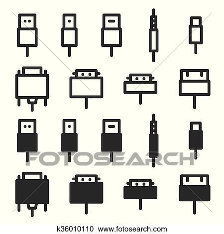 Clipart - kabel, draht, edv, und, stecker, heiligenbilder k36010110 ...
