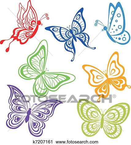 Clipart - mariposas, coloreado, contornos k7207161 - Buscar Clip Art ...