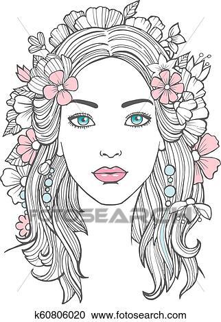 Mulher Bonita Portrait Misteriosa Desenho Beleza Jovem Femininas Com Flores Cabelo Vetorial Arte Clipart