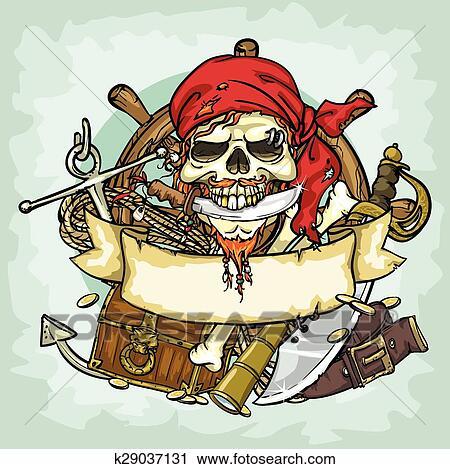 Pirata Cranio Logotipo Desenho Vetorial Ilustracoes Com