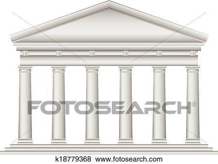 Clip Art Of Tuscan Roman Temple K18779368 Search Clipart