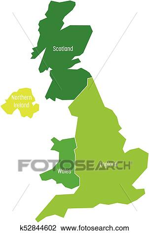 Map Of England Wales Scotland.United Kingdom Uk Of Great Britain And Northern Ireland
