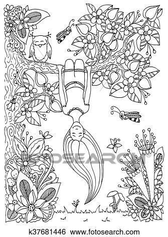 Clip Art Of Vector Illustration Zen Tangle Girl Hangs On A Tree