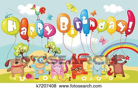 Clipart Verjaardag Kaart K7207408 Zoek Clipart Illustratie