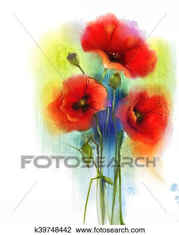Watercolor Red Poppy Flower Painting Drawing K39748442 Fotosearch