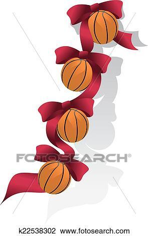 Basketball Rot Weihnachten Schleifchen Clipart