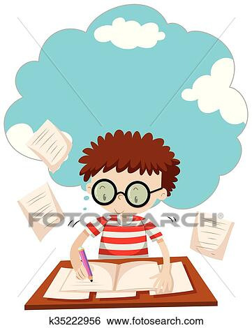 clip art of boy doing homework on the desk k35222956 search rh fotosearch com child doing homework clipart girl doing homework clipart