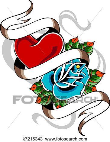 Dessin Coeur Et Rose Tatouage K7215343 Recherchez Des