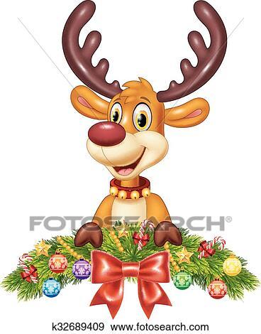 Christmas Clip Art Cute.Cute Baby Deer With Christmas Clip Art