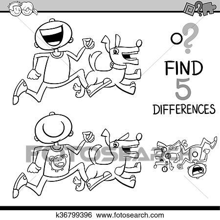 Clip Art - diferencias, tarea, libro colorear k36799396 - Buscar ...