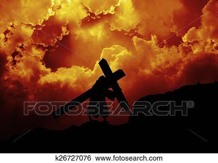 banco de imagens jesus carrega crucifixos k26727076 busca de