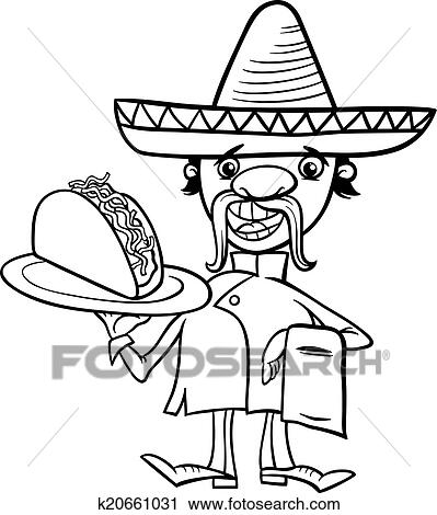 dragons love tacos coloring pages - clipart of mexican chef with taco coloring page k20661031