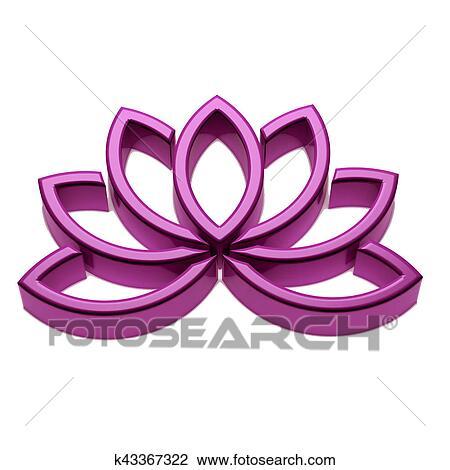 Lotus Flower Logo 3d Render Illustration Drawing K43367322