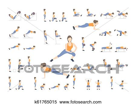 Set of sport exercises  Exercises with free weight  Exercises in a gym   Illustration of an active lifestyle  Vector Clipart