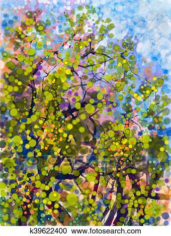 Spring Nature Season Abstract Watercolor Painting Clipart