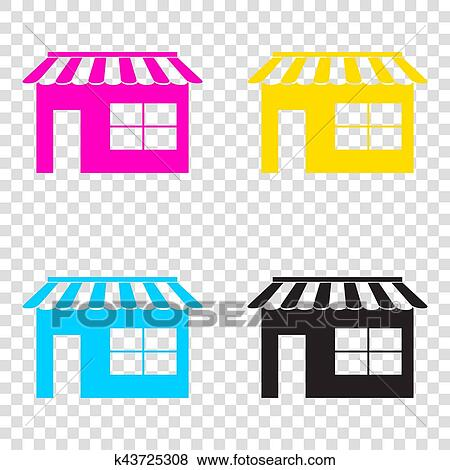 40ccfcdda9f0 Store sign illustration. CMYK icons on transparent background. Cyan