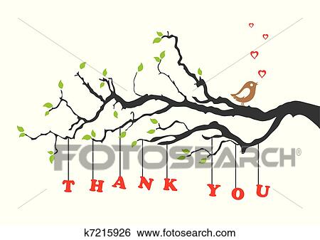 Clip art of thank you greeting card with bird k7215926 search thank you greeting card with bird this image is a vector illustration m4hsunfo
