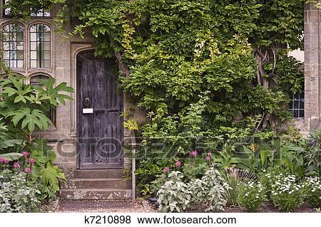 Images Vieux Porte Bois Ou Pierre Maison Brique à Lierre Et