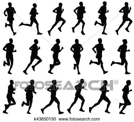 18 マラソン走者 シルエット クリップアート切り張りイラスト