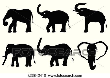Black silhouettes of elephants Clipart
