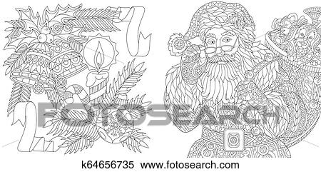 Christmas zentangle Santa Claus for adult Vector Image | 241x450