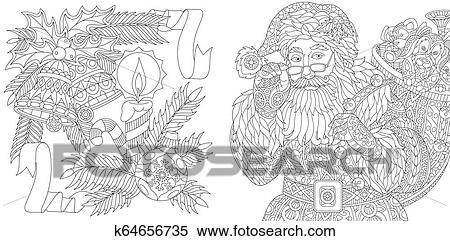 Coloring Pages With Santa Claus And Ornaments Clipart