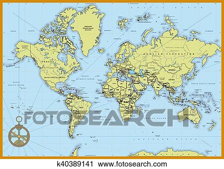 Detailed Political World Map Clipart