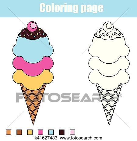 Clipart - färbung, seite, mit, eis, cream., erzieherisch, kindern ...