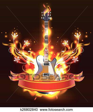 Rock n Roll Fire Flaming Electric Guitar Splash Music Giant Poster Art Print