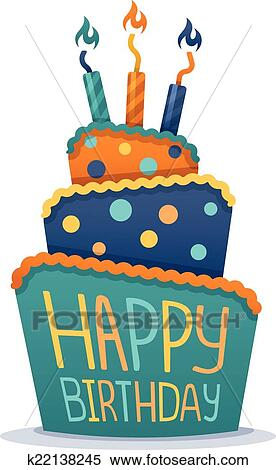 Remarkable Happy Birthday Cake Clipart K22138245 Fotosearch Funny Birthday Cards Online Sheoxdamsfinfo