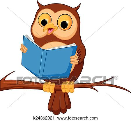clipart of owl cartoon reading a book k24352021 search clip art rh fotosearch com Colorful Owl Clip Art owl reading clipart black and white