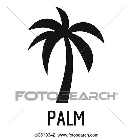 clip art of palm tree icon simple black style k53673342 search rh fotosearch com Palm Tree Clip Art He Is Risen Clip Art