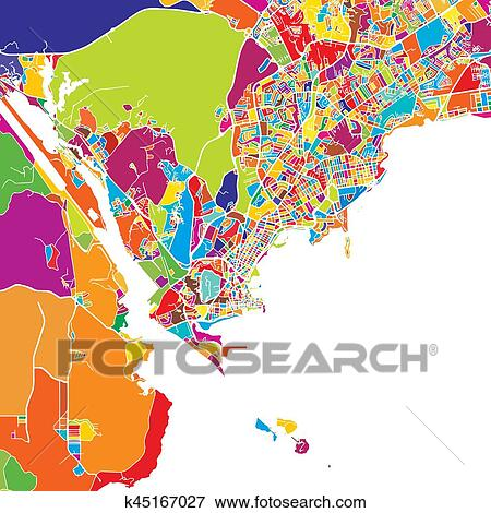 Clip Art Of Panama City Colorful Map K45167027 Search Clipart