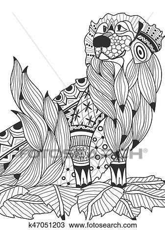 Clipart - perro labrador, en, el, hojas, libro colorear, para ...
