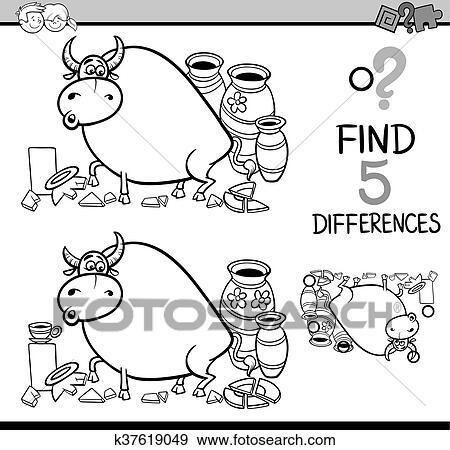 Clip Art - diferencias, actividad, libro colorear k37619049 - Buscar ...