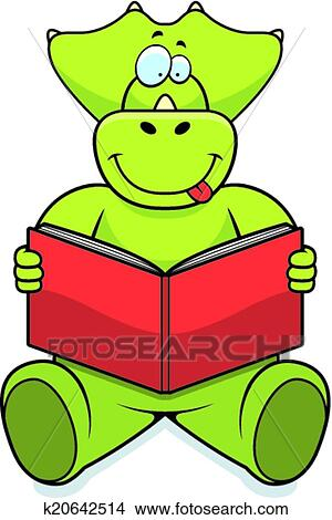 clipart of dinosaur reading k20642514 search clip art rh fotosearch com Dinosaur Prints School Clip Art