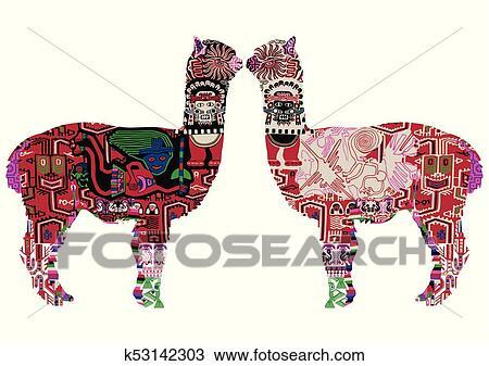 Due peruviano lama clipart k fotosearch