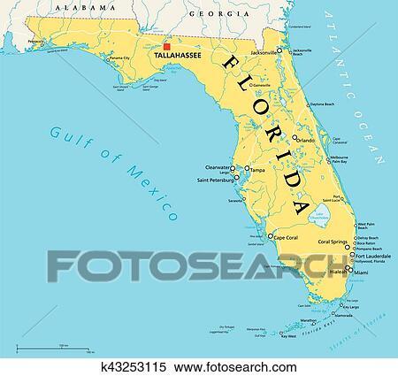 Florida Political Map.Clipart Of Florida Political Map K43253115 Search Clip Art