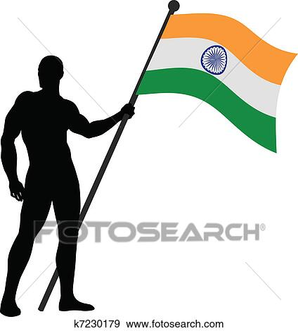 clip art of indian flag bearer k7230179 search clipart rh fotosearch com clipart indians black and white clipart indian arrow