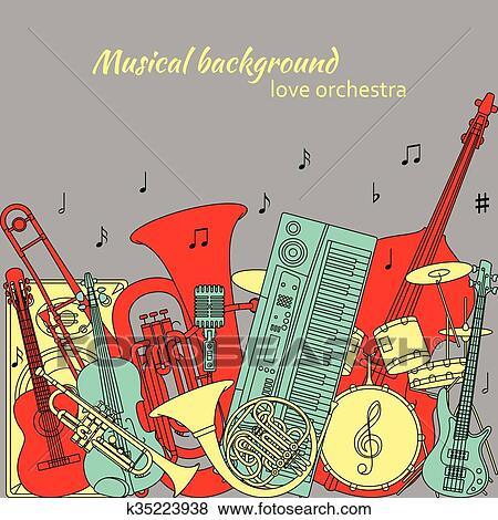 Clip Art Of Musical Background K35223938 Search Clipart