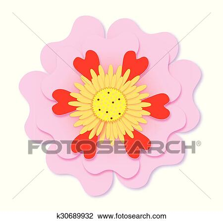 Clipart of pink flower k30689932 search clip art illustration clipart pink flower fotosearch search clip art illustration murals drawings and mightylinksfo