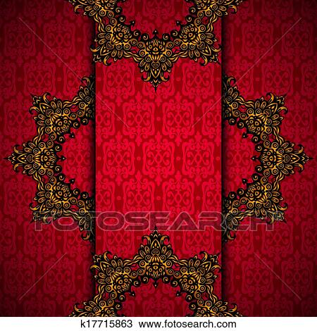 Clipart Of Red Background With Gold Royal Frame Vector K17715863