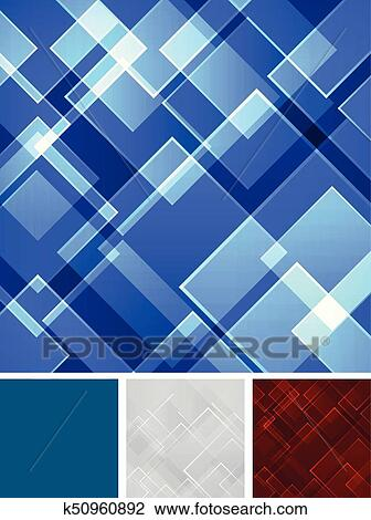 Set Abstract Blue Red Gray Square Shape Technology Laser Background Vector Clipart